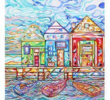 Row Boats Bobbing on Crystal Bay, acrylic Photographic Print