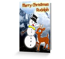 Rudolph and Frosty the Snowman in the Mountains Greeting Card