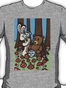 Teddy Bear and Bunny - The Mushroom Forest T-Shirt