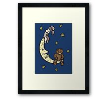 Teddy Bear and Bunny - Caught In The Moonlight Framed Print
