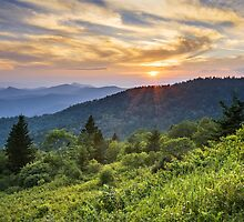 Cowee Mountains Sunset - Blue Ridge Parkway NC by Dave Allen
