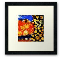 Orange Jelly Jelly - Monotype/Linocut Framed Print