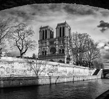 Notre Dame Panorama BW by lesslinear
