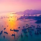 Sunset coast in container terminal and bridges  by kawing921