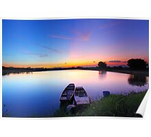 Sunset along the pond with two boats and two magical color on sky Poster