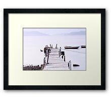Sunset pier under long exposure, high key image. Framed Print