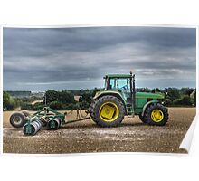 Tractor and roller Poster