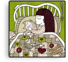 Cat Cuddle Canvas Print