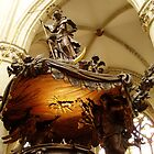 Gilded oak wood carved pulpit, top half, Brussels Cathedral.  by Grace Johnson