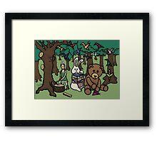 Teddy Bear And Bunny - Paper Swans Framed Print