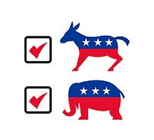 Republican Elephant Democrat Donkey Election Ballot by patrimonio