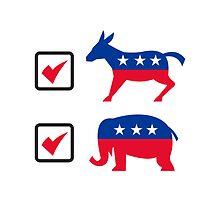Republican Elephant Democrat Donkey Election Ballot by patrimonio