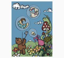 Teddy Bear And Bunny - The Bubble Flower T-Shirt