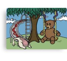 Teddy Bear And Bunny - The Playground Canvas Print