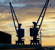 Twin Cranes Blyth Docks Northumberland by Moonlake