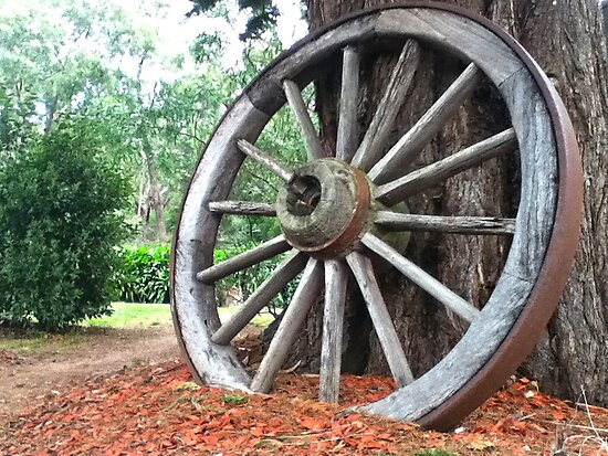 carriage wooden wheel by Russell Voigt