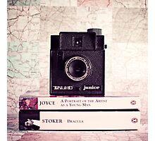 Retro - Vintage Black Camera on Beige Background and books  Photographic Print