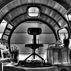 B-17 Cockpit Under Restoration B&amp;W by Michael  Herrfurth