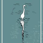 Crane in water drawing by s1lence
