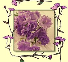 Campanella Framed With Pressed Petals by Sandra Foster