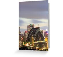 Sydney Harbour bridge at eveningtime with automobile traffic light trails, Sydney, Australia Greeting Card