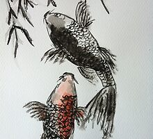 Japanese style Sumi-e Koi Carp Watercolour Painting by joelwilluk