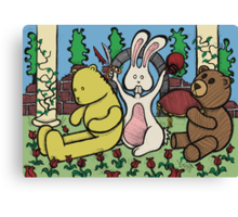 Teddy Bear And Bunny - Coin In The Back Of Yellow Bear's Head Canvas Print