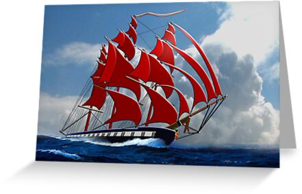 The Clipper Ship Indian Queen Races for Home by Dennis Melling