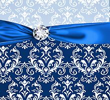 Royal Blue Elegant Damask Faux Ribbon & Diamond by GirlyGirl