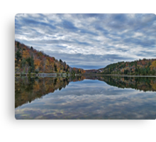 Mirror Lake ~ Fall Forest under Blue Skies & Clouds Canvas Print