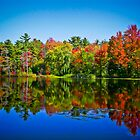 Peak Fall Colors Reflected on a Blue Lake by Chantal PhotoPix