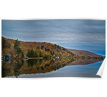 Conifer and Fall Colored Trees Mirrored on Blue Water Poster