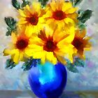 A vase of Sunflowers&#x27;... by Valerie Anne Kelly