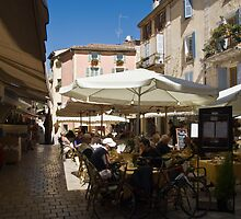 Cafe's at Vence Hill Town Cot D Azur by Jim Hellier