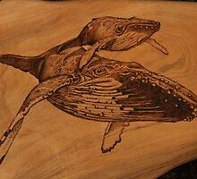 Pyrography of Humpback Whales: Mum & Bub by aussiebushstick