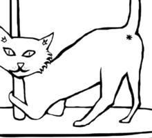Cat Stripper Fun (transparent, just the outline) Sticker