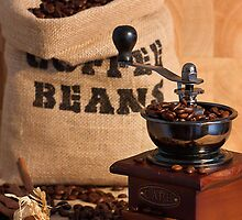 Coffee Beans and Grinder by caru