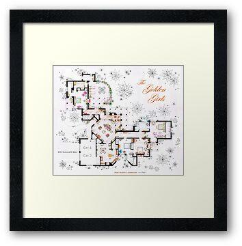 The Golden Girls House Floorplan V 2 Framed Prints By