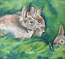Wild baby rabbits by Emma Cownie
