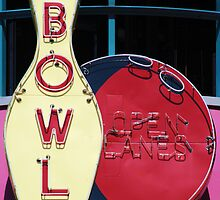 Vintage neon sign for a bowling alley by Jeff Knapp