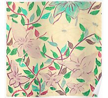 Painted violet flowers on a beige wall  Poster