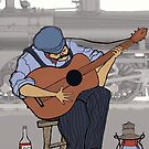 Railroad Guitar Player  by david michael  schmidt