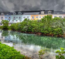 Rainy day at Sandyport Marina Village in Nassau, The Bahamas by Jeremy Lavender Photography