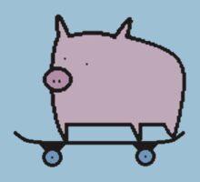 Skating Pig, Loving Life. by KJDaniels