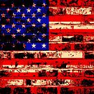 American Flag On Old Brick Wall by Nhan Ngo