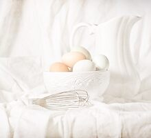 Free Range Eggs on White by Rachel Slepekis