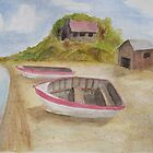 Dinghies On Shore by Mark Sherman