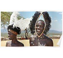 Massai Warriors at Samburu Village Poster