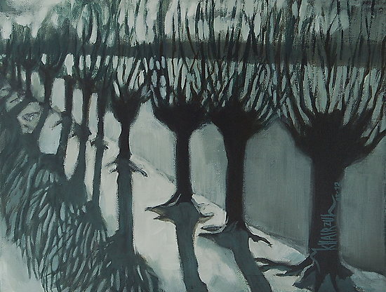 Leaving Falls - Willow Trees Painting by Khairzul MG