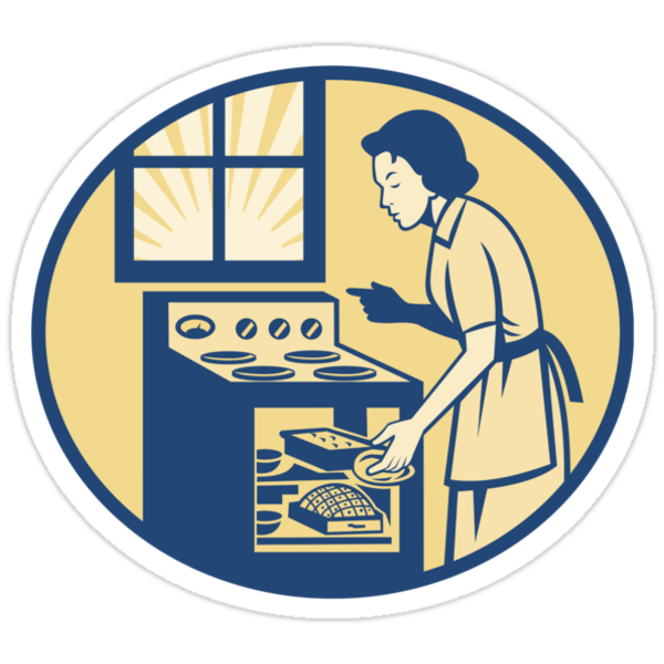 Housewife Baker Baking in Oven Stove Retro by patrimonio